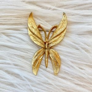 Vintage Butterfly with Antennae Gold Tone Pin